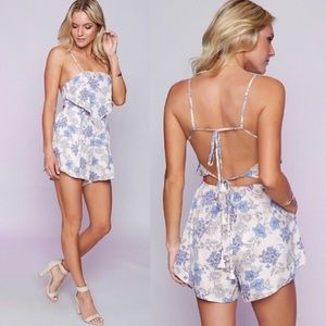 Pants - Strappy Backless Handkerchief Front Floral Romper